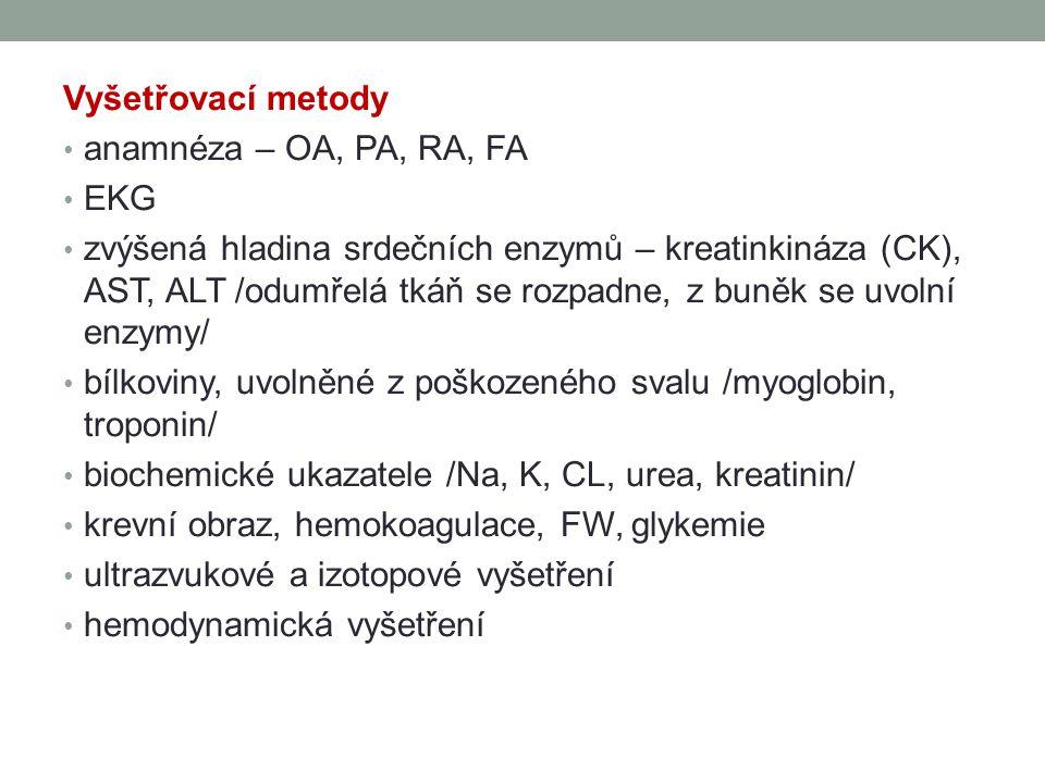 Vyšetřovací metody anamnéza – OA, PA, RA, FA. EKG.