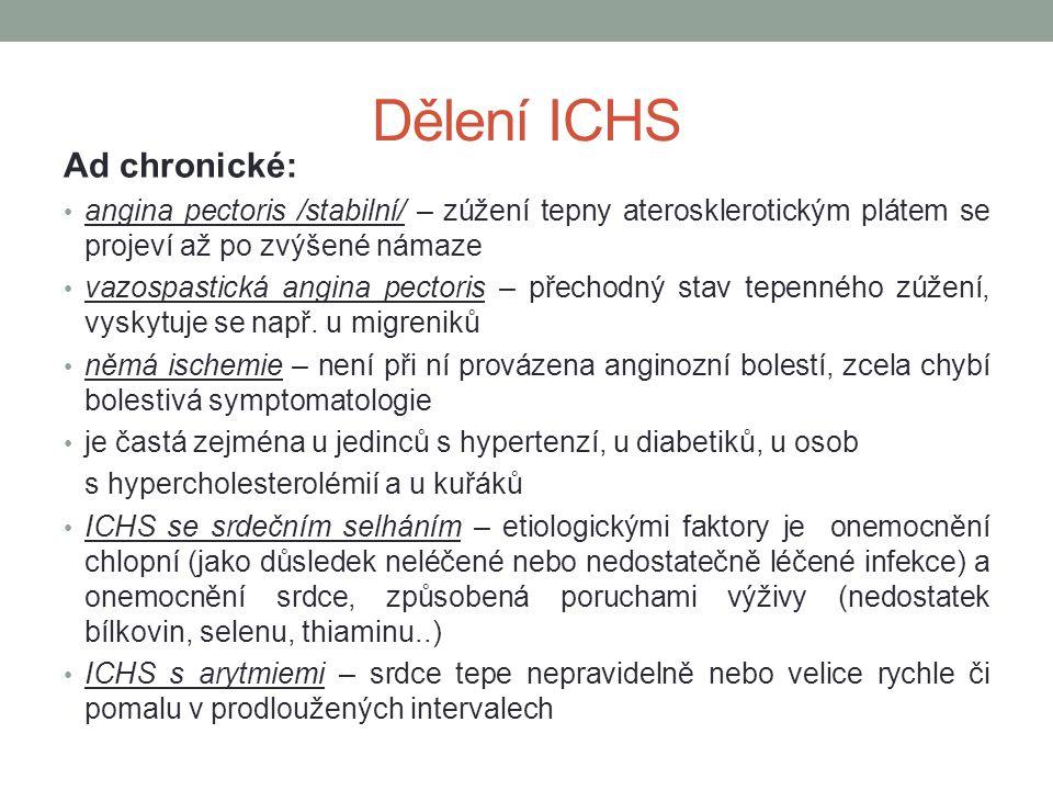 Dělení ICHS Ad chronické:
