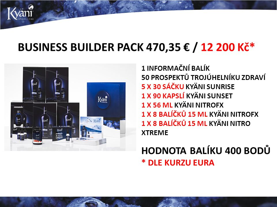 BUSINESS BUILDER PACK 470,35 € / 12 200 Kč*