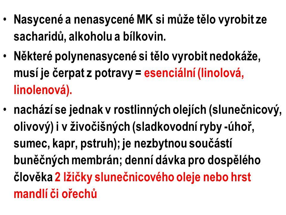 Nasycené a nenasycené MK si může tělo vyrobit ze sacharidů, alkoholu a bílkovin.