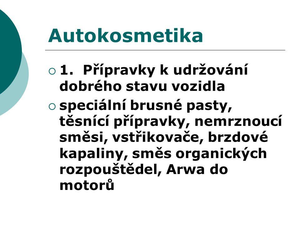 Autokosmetika 1. Přípravky k udržování dobrého stavu vozidla