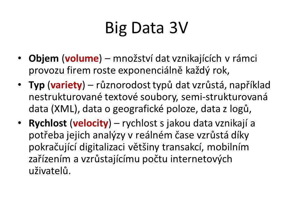 Big Data 3V Objem (volume) – množství dat vznikajících v rámci provozu firem roste exponenciálně každý rok,