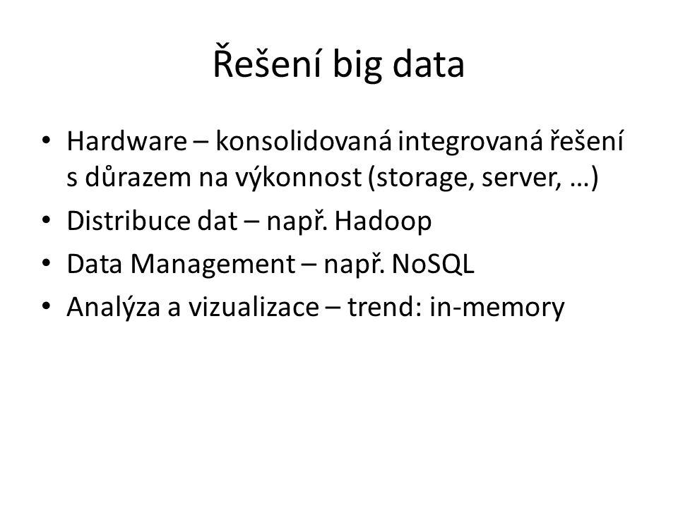 Řešení big data Hardware – konsolidovaná integrovaná řešení s důrazem na výkonnost (storage, server, …)