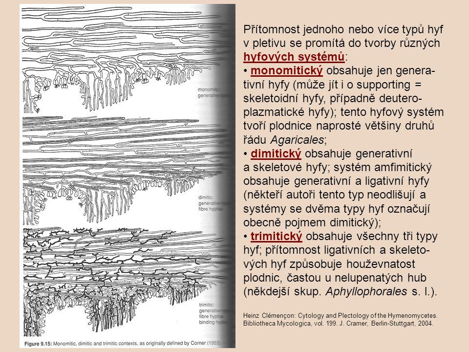 Přítomnost jednoho nebo více typů hyf v pletivu se promítá do tvorby různých hyfových systémů: • monomitický obsahuje jen genera-tivní hyfy (může jít i o supporting = skeletoidní hyfy, případně deutero-plazmatické hyfy); tento hyfový systém tvoří plodnice naprosté většiny druhů řádu Agaricales; • dimitický obsahuje generativní a skeletové hyfy; systém amfimitický obsahuje generativní a ligativní hyfy (někteří autoři tento typ neodlišují a systémy se dvěma typy hyf označují obecně pojmem dimitický); • trimitický obsahuje všechny tři typy hyf; přítomnost ligativních a skeleto-vých hyf způsobuje houževnatost plodnic, častou u nelupenatých hub (někdejší skup. Aphyllophorales s. l.).