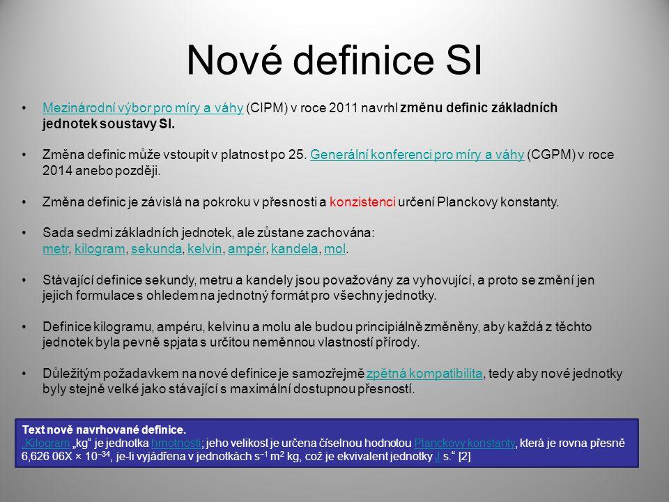 Nové definice SI Mezinárodní výbor pro míry a váhy (CIPM) v roce 2011 navrhl změnu definic základních jednotek soustavy SI.