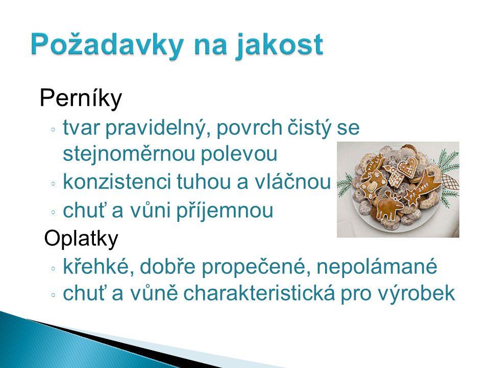 Požadavky na jakost Perníky