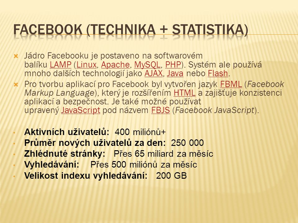Facebook (Technika + Statistika)