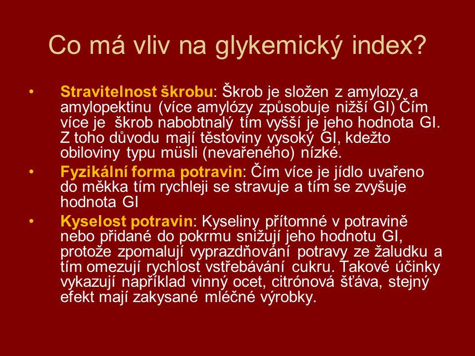 Co má vliv na glykemický index