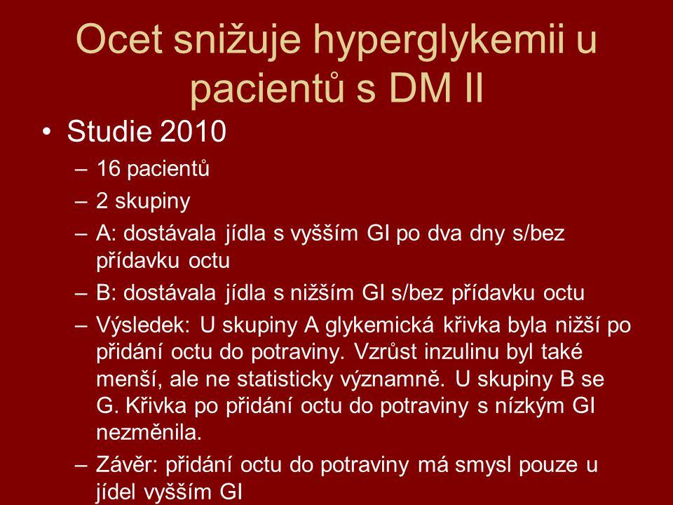 Ocet snižuje hyperglykemii u pacientů s DM II