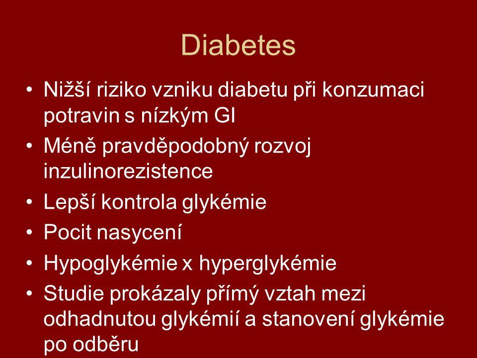 Diabetes Nižší riziko vzniku diabetu při konzumaci potravin s nízkým GI. Méně pravděpodobný rozvoj inzulinorezistence.