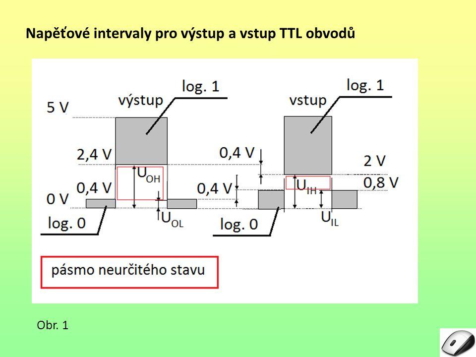Napěťové intervaly pro výstup a vstup TTL obvodů