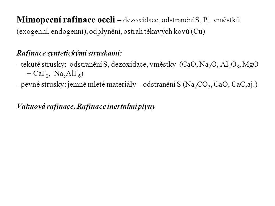 Mimopecní rafinace oceli – dezoxidace, odstranění S, P, vměstků