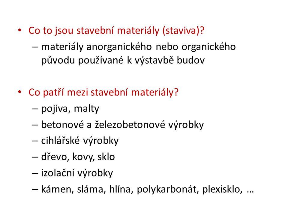 Co to jsou stavební materiály (staviva)