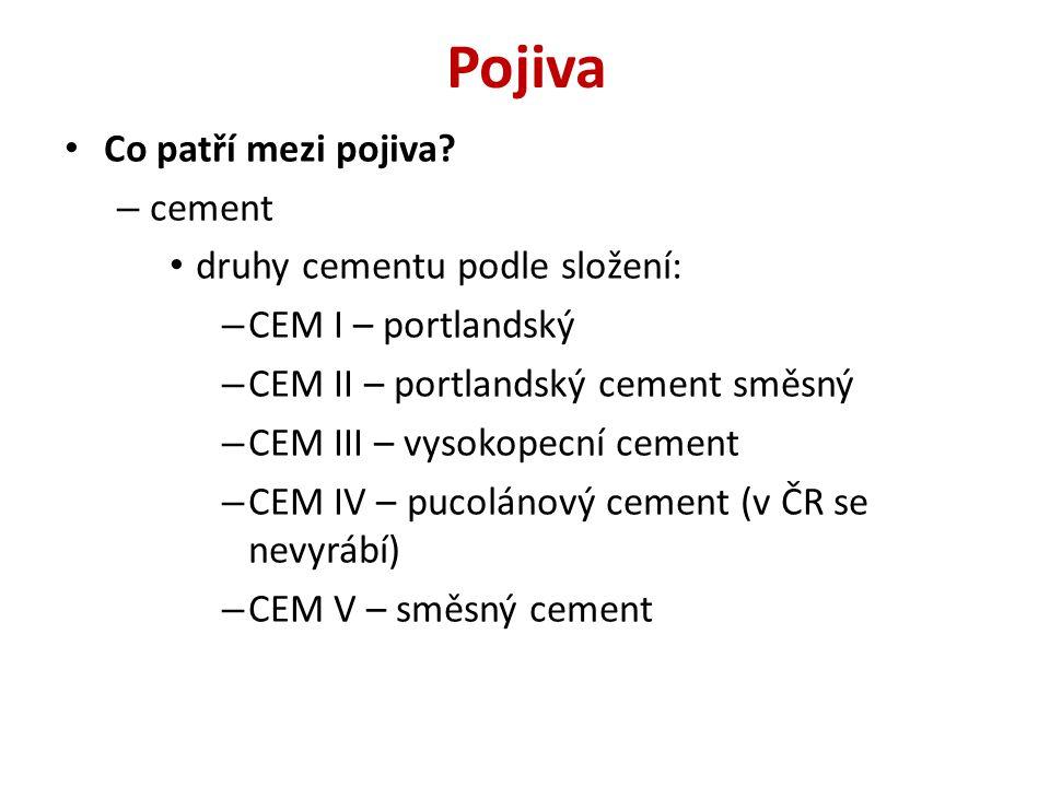 Pojiva Co patří mezi pojiva cement druhy cementu podle složení: