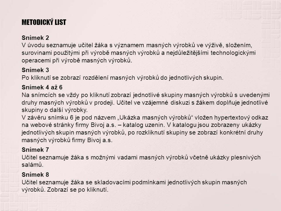METODICKÝ LIST Snímek 2.