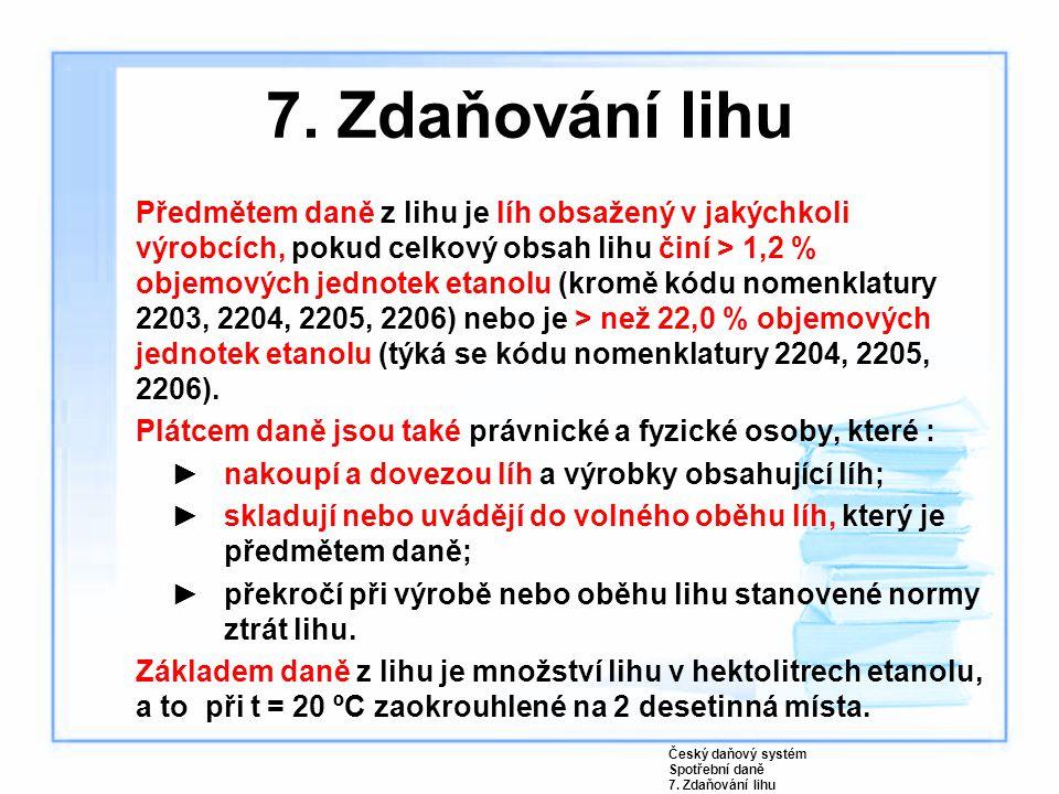 7. Zdaňování lihu