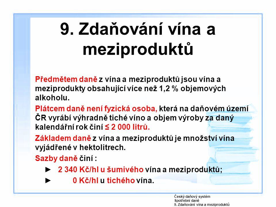 9. Zdaňování vína a meziproduktů