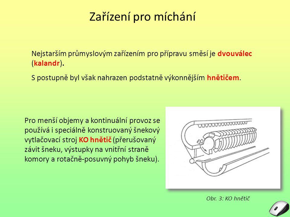 Zařízení pro míchání Nejstarším průmyslovým zařízením pro přípravu směsí je dvouválec (kalandr).