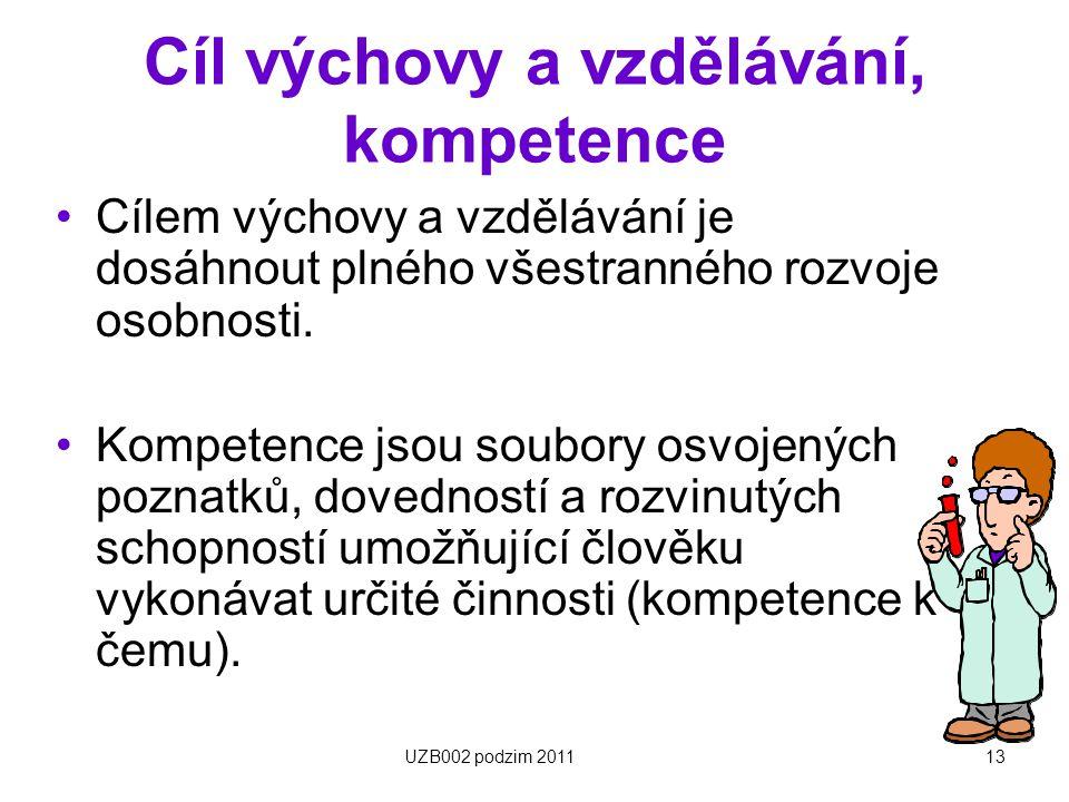 Cíl výchovy a vzdělávání, kompetence
