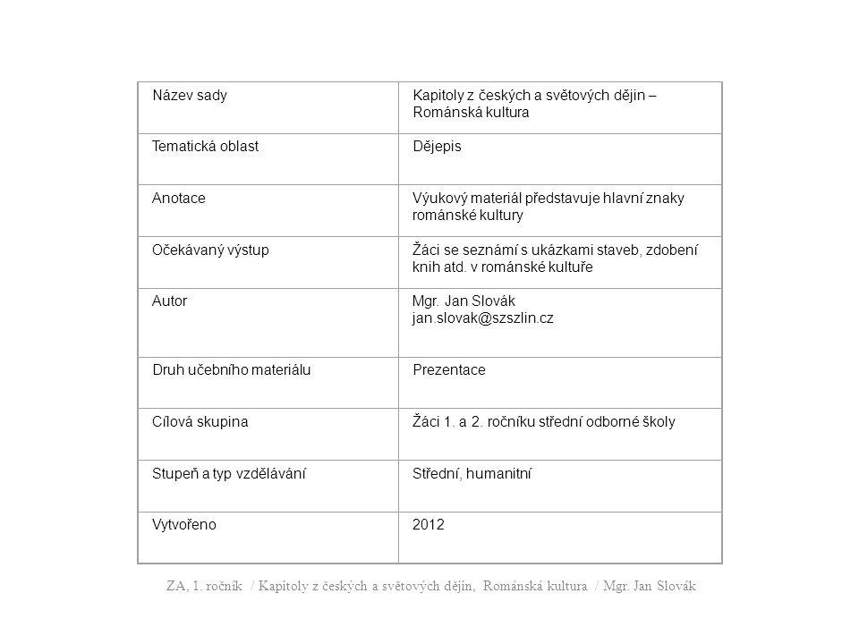 Název sady Kapitoly z českých a světových dějin – Románská kultura. Tematická oblast. Dějepis. Anotace.