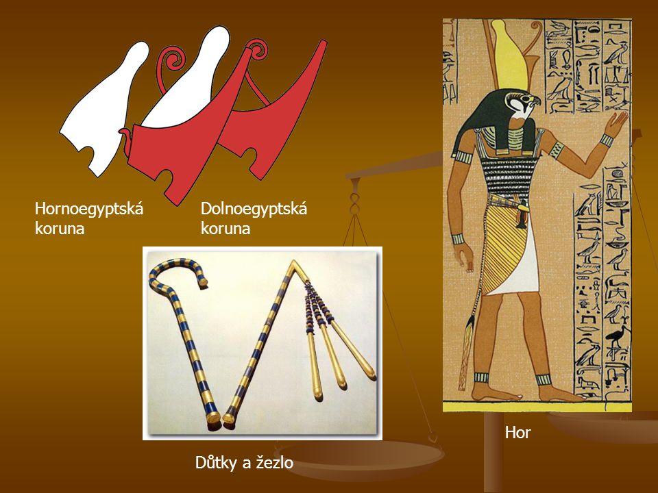 Hornoegyptská koruna Dolnoegyptská koruna Hor Důtky a žezlo