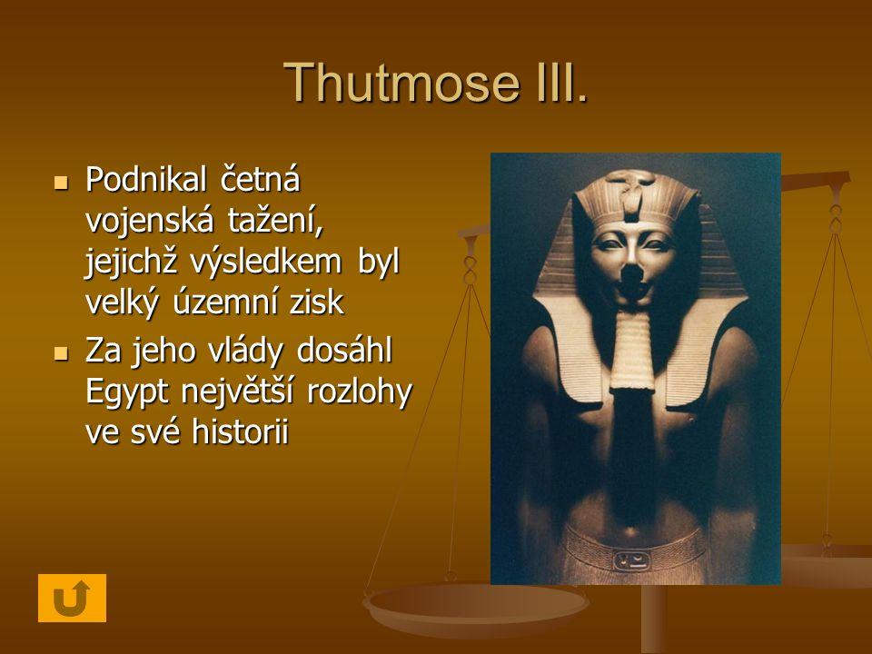 Thutmose III. Podnikal četná vojenská tažení, jejichž výsledkem byl velký územní zisk.