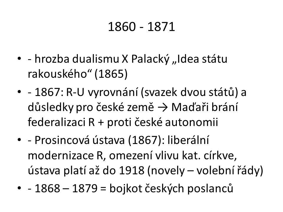 """1860 - 1871 - hrozba dualismu X Palacký """"Idea státu rakouského (1865)"""