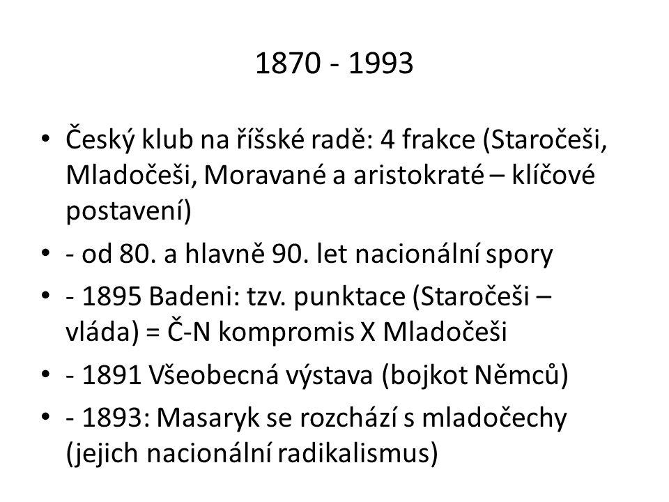 1870 - 1993 Český klub na říšské radě: 4 frakce (Staročeši, Mladočeši, Moravané a aristokraté – klíčové postavení)