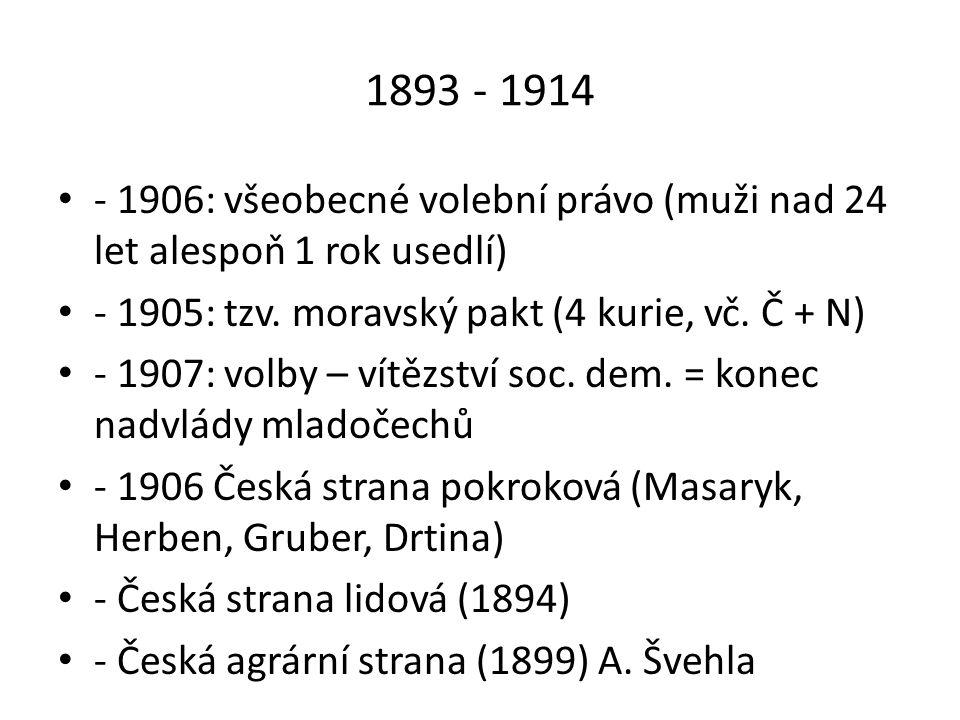 1893 - 1914 - 1906: všeobecné volební právo (muži nad 24 let alespoň 1 rok usedlí) - 1905: tzv. moravský pakt (4 kurie, vč. Č + N)