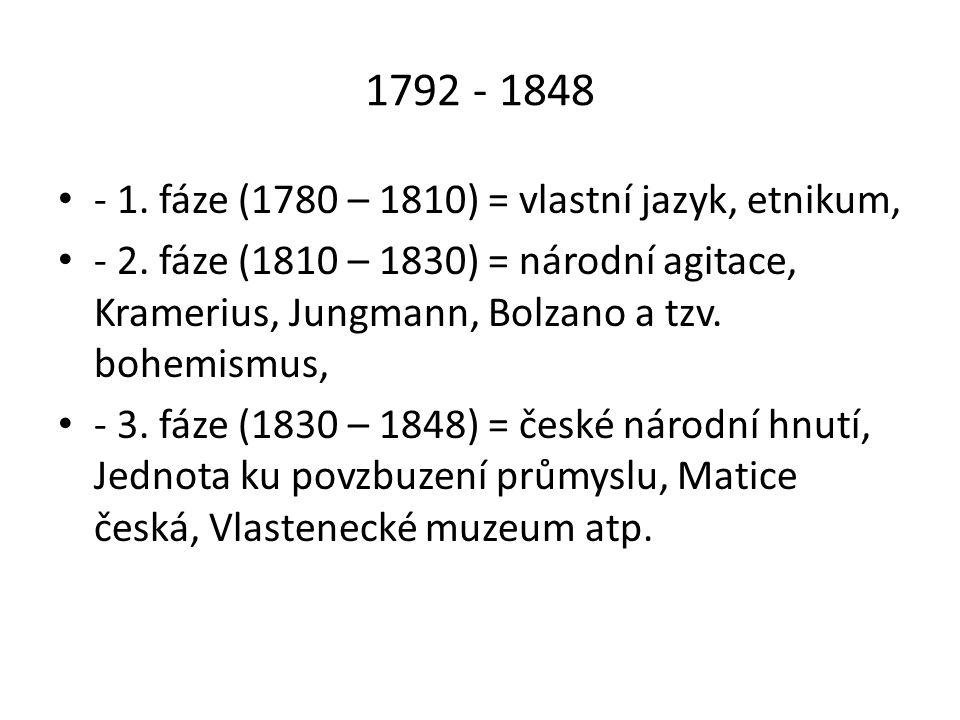 1792 - 1848 - 1. fáze (1780 – 1810) = vlastní jazyk, etnikum,