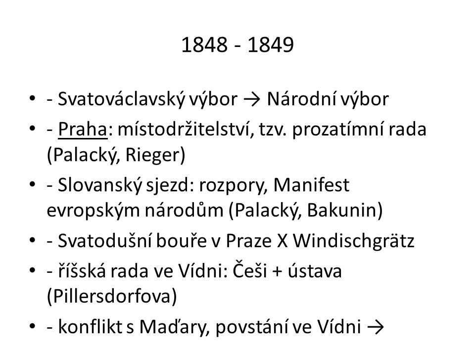 1848 - 1849 - Svatováclavský výbor → Národní výbor