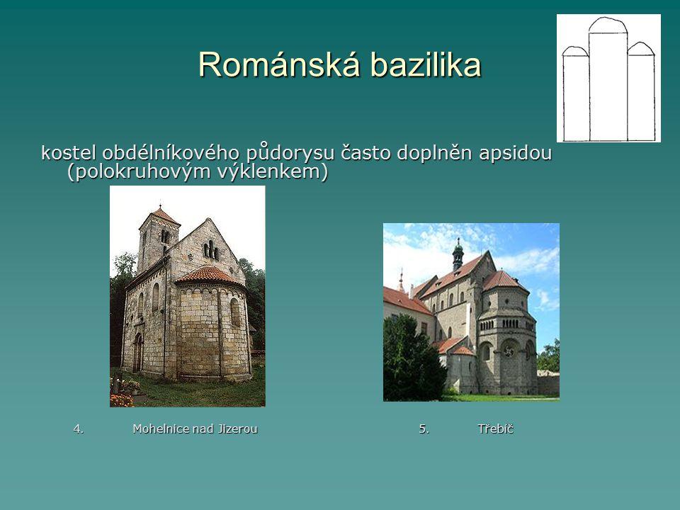 Románská bazilika kostel obdélníkového půdorysu často doplněn apsidou (polokruhovým výklenkem)