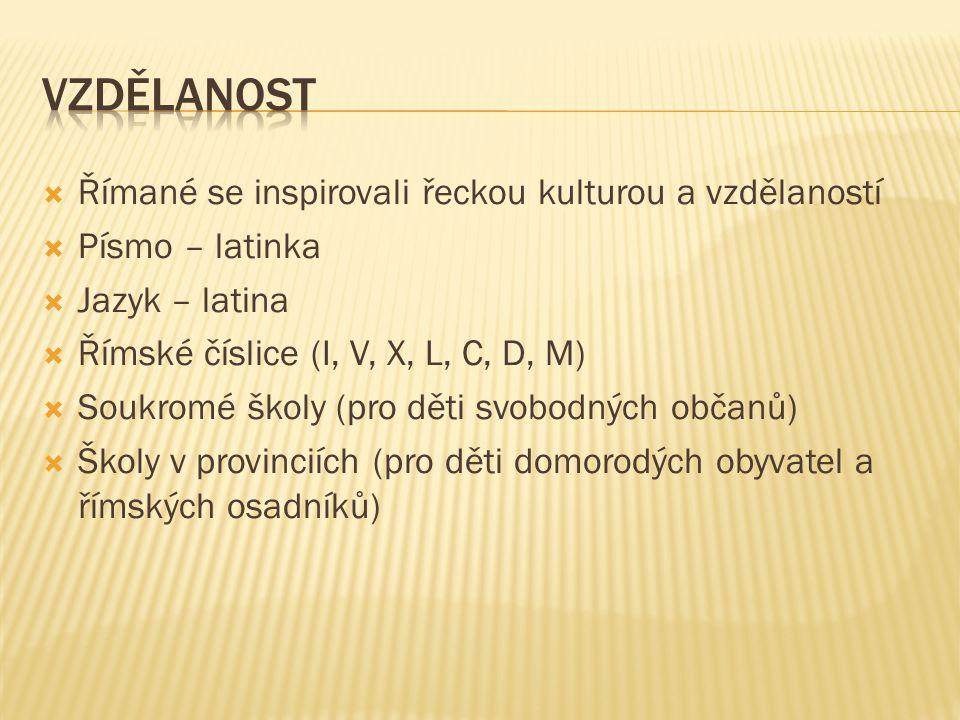 Vzdělanost Římané se inspirovali řeckou kulturou a vzdělaností