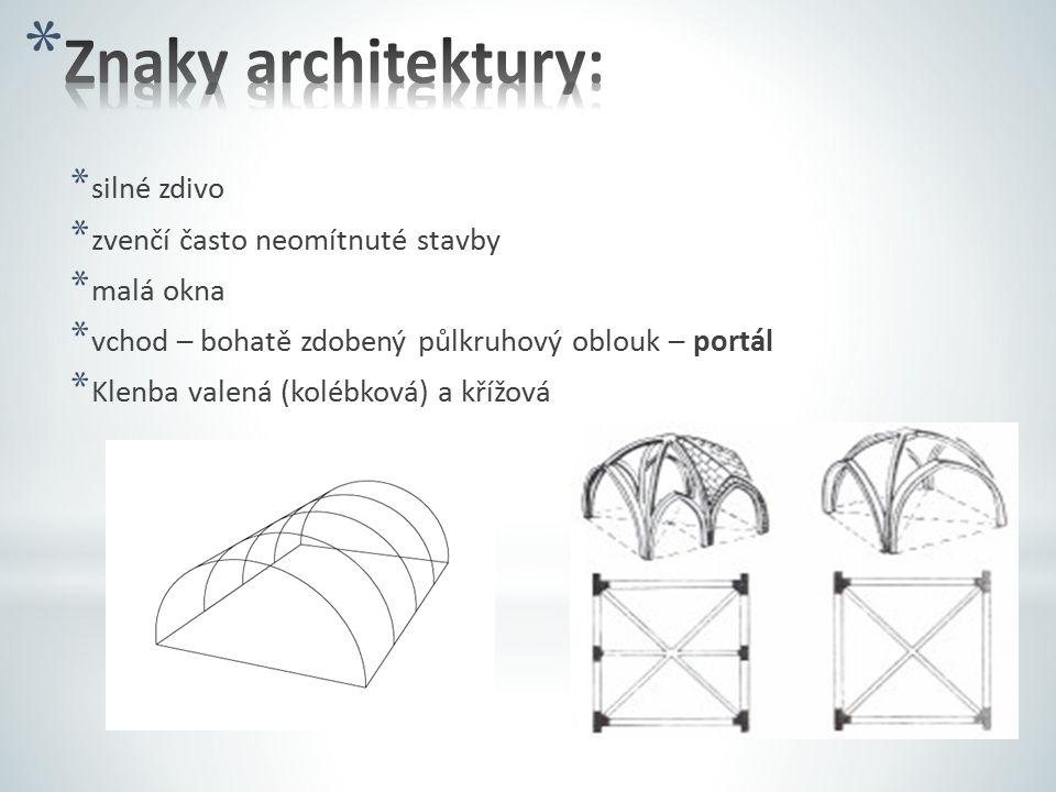 Znaky architektury: silné zdivo zvenčí často neomítnuté stavby