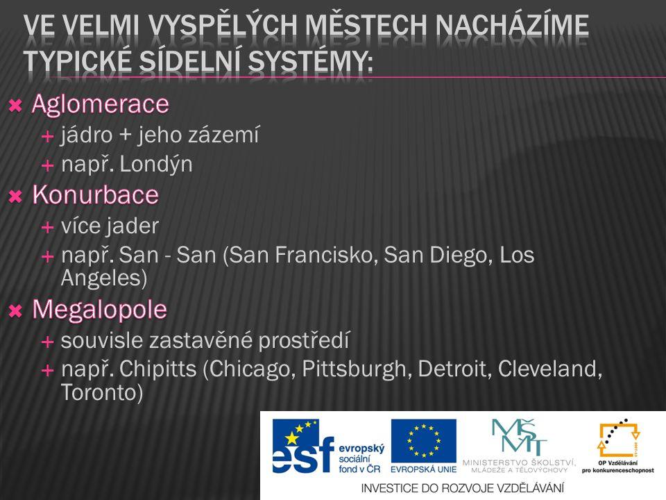 Ve velmi vyspělých městech nacházíme typické sídelní systémy: