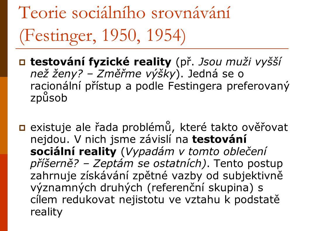 Teorie sociálního srovnávání (Festinger, 1950, 1954)