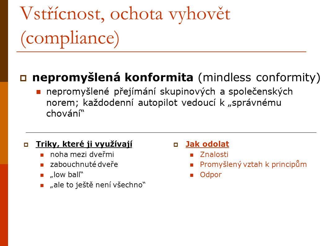 Vstřícnost, ochota vyhovět (compliance)