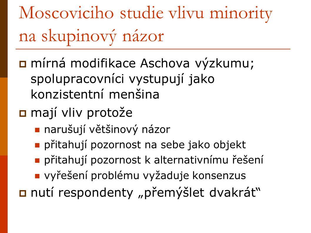 Moscoviciho studie vlivu minority na skupinový názor