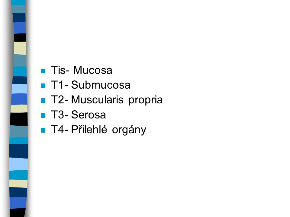 Tis- Mucosa T1- Submucosa T2- Muscularis propria T3- Serosa T4- Přilehlé orgány