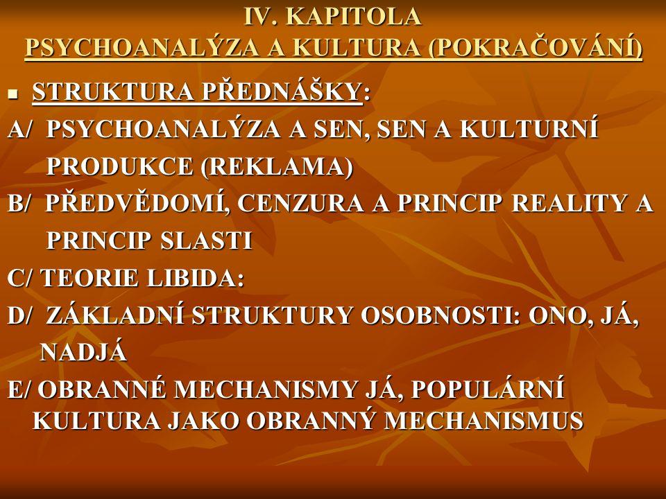 IV. KAPITOLA PSYCHOANALÝZA A KULTURA (POKRAČOVÁNÍ)