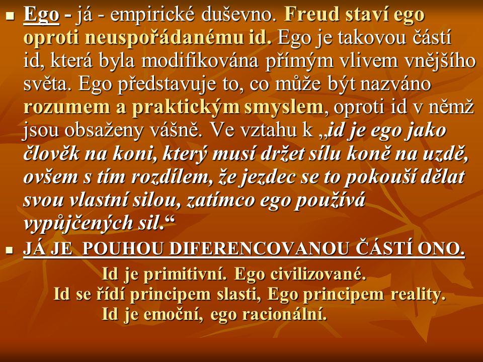 Ego - já - empirické duševno. Freud staví ego oproti neuspořádanému id