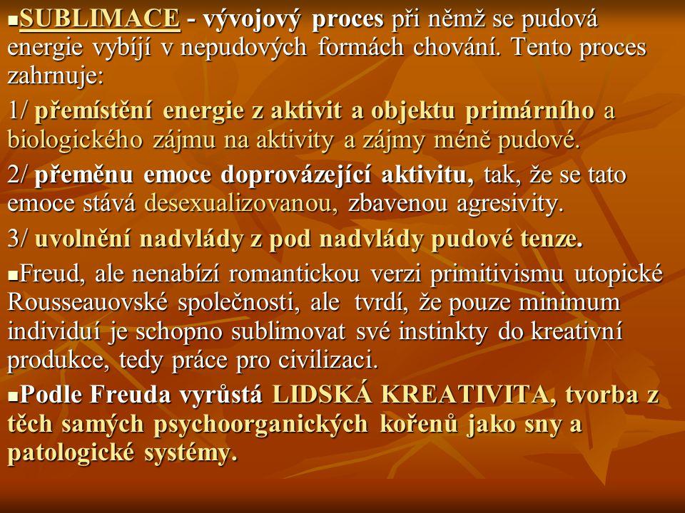SUBLIMACE - vývojový proces při němž se pudová energie vybíjí v nepudových formách chování. Tento proces zahrnuje: