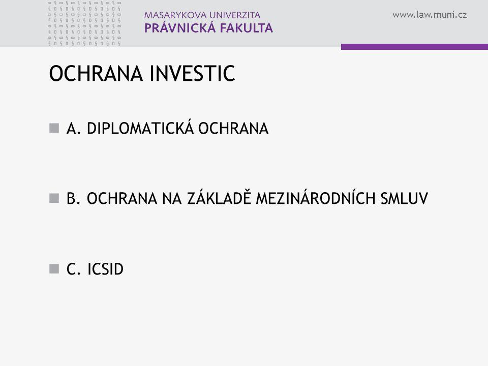 OCHRANA INVESTIC A. DIPLOMATICKÁ OCHRANA