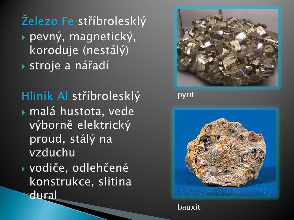 Železo Fe stříbrolesklý pevný, magnetický, koroduje (nestálý)