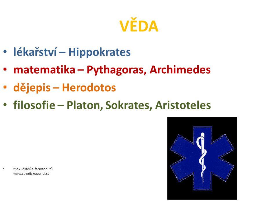 VĚDA lékařství – Hippokrates matematika – Pythagoras, Archimedes
