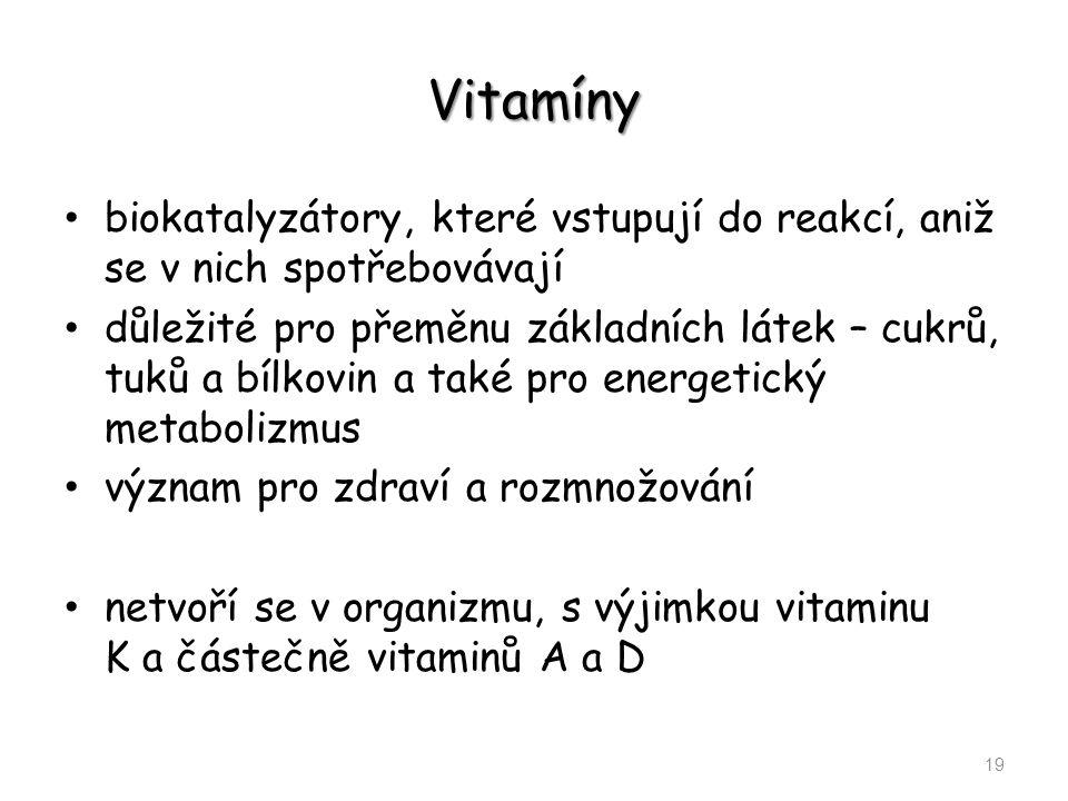 Vitamíny biokatalyzátory, které vstupují do reakcí, aniž se v nich spotřebovávají.
