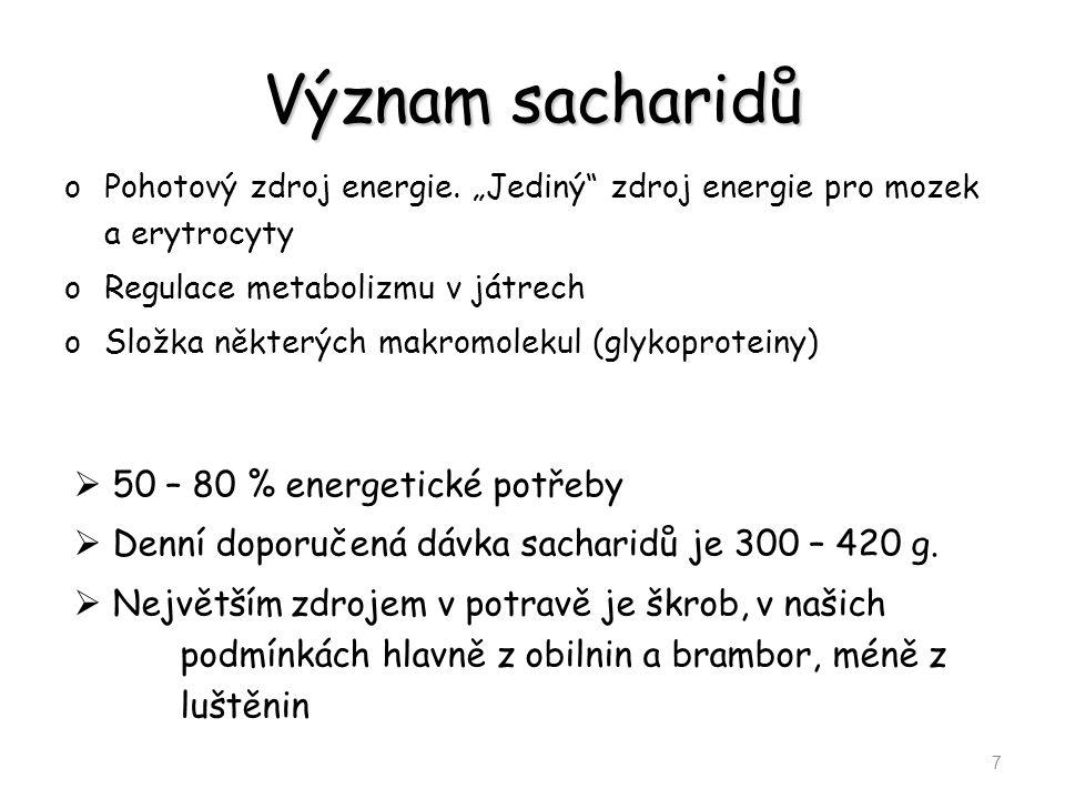 Význam sacharidů 50 – 80 % energetické potřeby