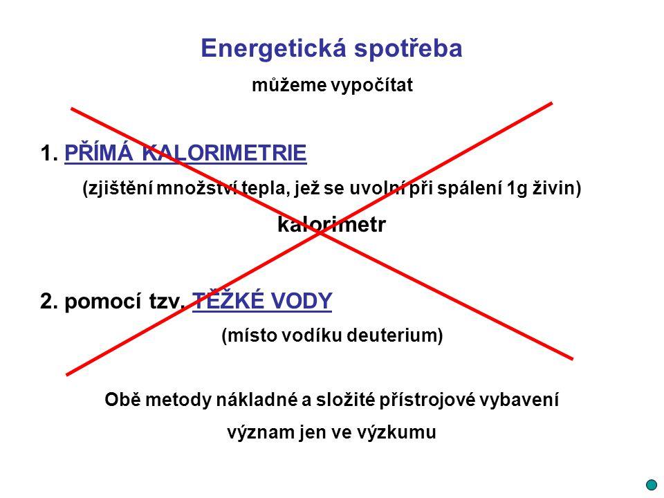 Energetická spotřeba 1. PŘÍMÁ KALORIMETRIE kalorimetr