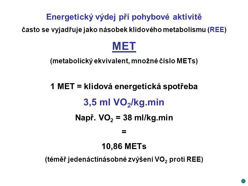 MET 3,5 ml VO2/kg.min Energetický výdej při pohybové aktivitě
