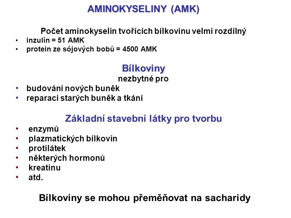 AMINOKYSELINY (AMK) Bílkoviny Základní stavební látky pro tvorbu